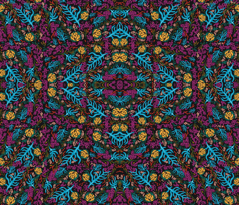 On the Ocean Floor (Black background) fabric by trish_sierer on Spoonflower - custom fabric