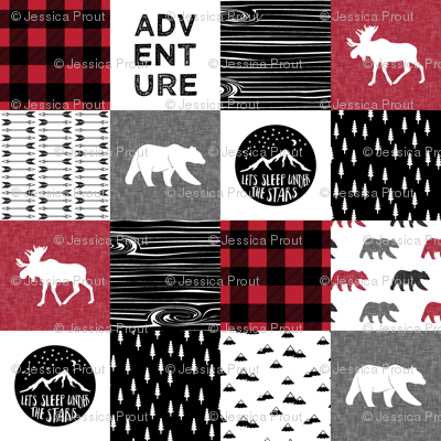 Happy Camper Buffalo Plaid || woodland patchwork wholecloth
