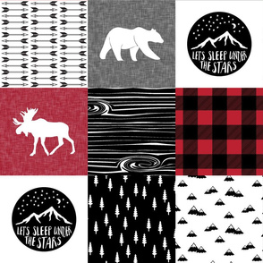 Happy Camper Buffalo Plaid || woodland patchwork wholecloth