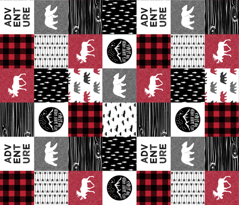 Happy Camper Buffalo Plaid (90) || woodland patchwork wholecloth fabric by littlearrowdesign on Spoonflower - custom fabric