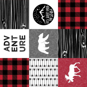 Happy Camper Buffalo Plaid (90) || woodland patchwork wholecloth