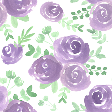 soft floral purple watercolor flower fabric by smallhoursshop on Spoonflower - custom fabric