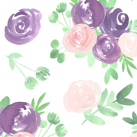 soft floral purple pink watercolor flower fabric by smallhoursshop on Spoonflower - custom fabric