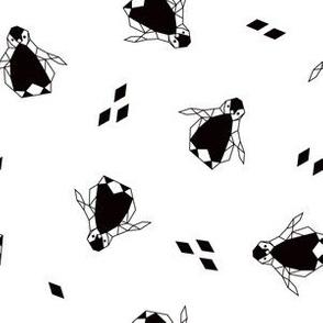 Geo Penguin Toss in Black + White