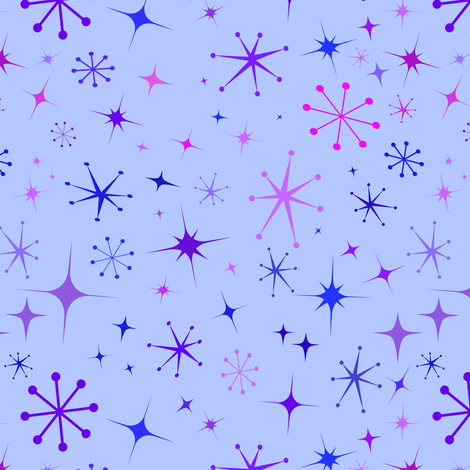 Atomic Starry Night in Purple fabric by elliottdesignfactory on Spoonflower - custom fabric
