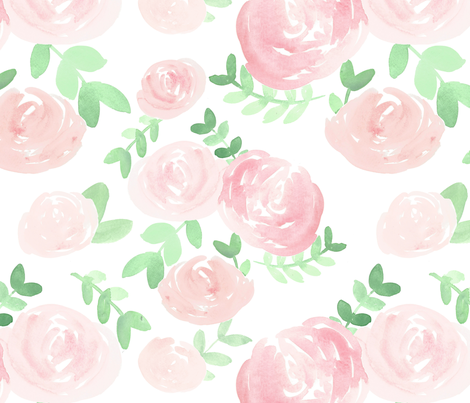 soft floral baby  pink watercolor flower fabric by smallhoursshop on Spoonflower - custom fabric