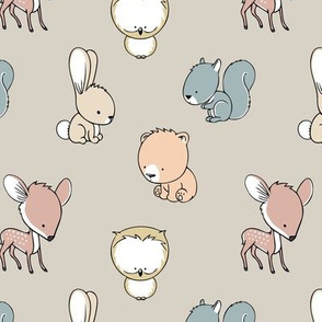 woodland babies || multi on beige - nursery fabric