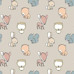 woodland babies (small scale) || multi on beige - nursery fabric