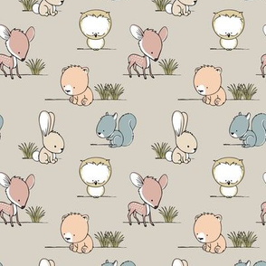 woodland babies  (small scale) || grass on beige