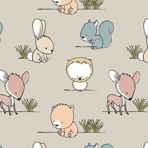 woodland babies || grass on beige