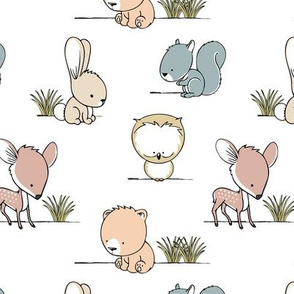 woodland babies || grass on white
