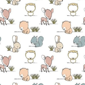 woodland babies (small scale) || grass on white