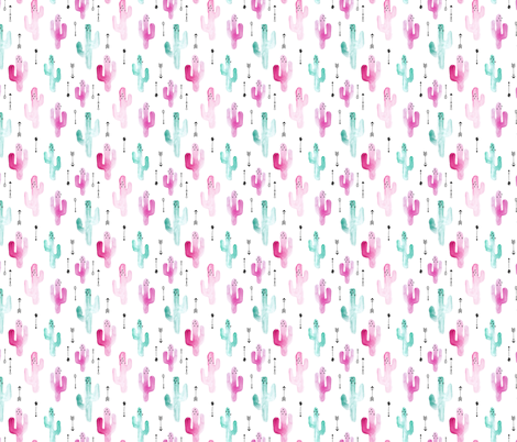 Watercolors cactus garden indian summer arrows blue pink fabric by littlesmilemakers on Spoonflower - custom fabric