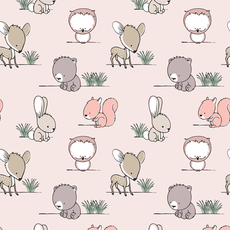 woodland babies (small scale) || v3 with grass fabric by littlearrowdesign on Spoonflower - custom fabric