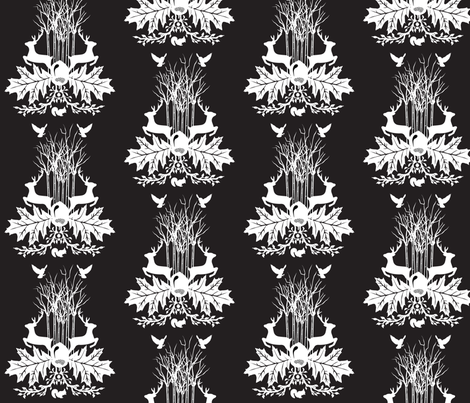 Woodland Crest Black fabric by baxtergraham on Spoonflower - custom fabric