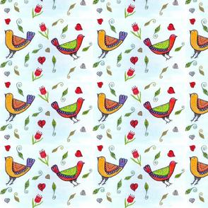 Folk Art  Love Birds