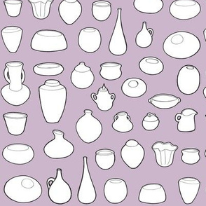 Clay Pots with Dusty Purple Background