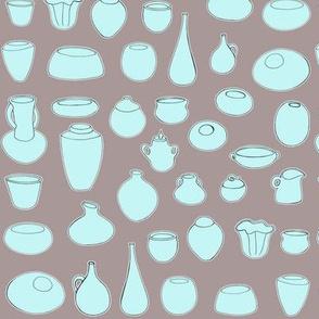 Clay Pots Aqua/Teal and Brown