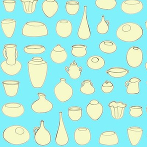 Clay Pots Aqua and yellow