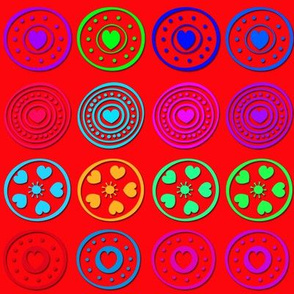 Bright Red Heart Circles