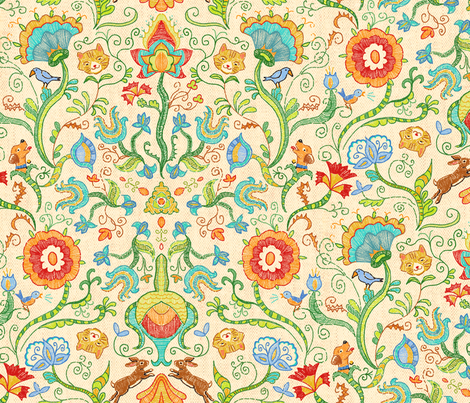 Embroidery Fantasy Large fabric by vinpauld on Spoonflower - custom fabric