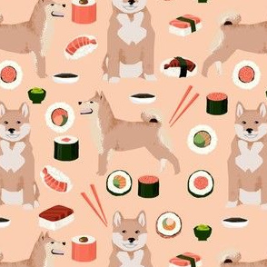 shiba inu and sushi fabric dogs fabric novelty dogs and food fabric - apricot
