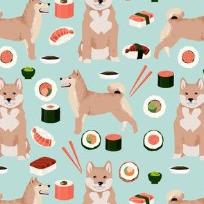 shiba inu and sushi fabric dogs fabric novelty dogs and food fabric - light blue