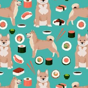 shiba inu and sushi fabric dogs fabric novelty dogs and food fabric - turquoise
