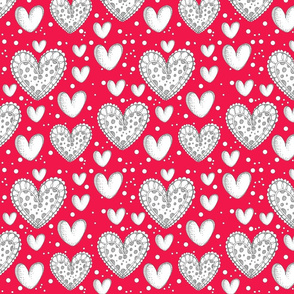 Happy Hearts Red Background