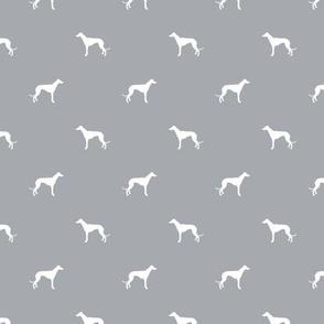 quarry grey greyhound silhouette dog fabric grey design