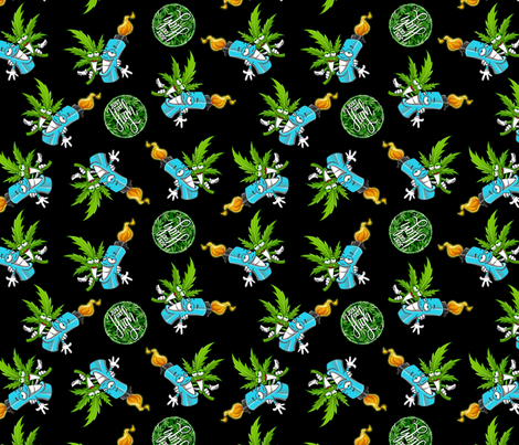 BEST BUDS ON BLACK fabric by just_get_high on Spoonflower - custom fabric