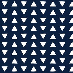 navy hand drawn triangles