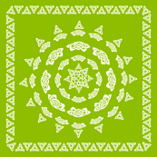 Celtic Scarf Mandala 1 white on olive