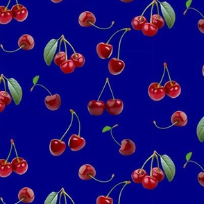retro cherries in blue