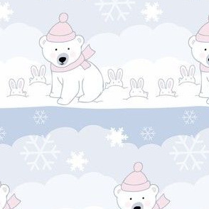 Baby Polar Bears and Bunnies in the Winter Snow Pastel Stripe