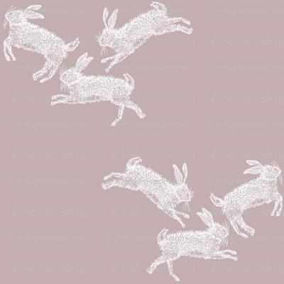 Running Rabbits Pink Linen