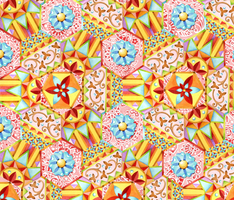 Pink Paisley Hexagons fabric by patriciasheadesigns on Spoonflower - custom fabric
