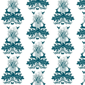 Woodland Crest Teal and white