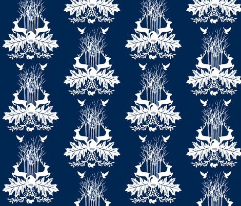 Woodland Crest Navy Blue fabric by baxtergraham on Spoonflower - custom fabric