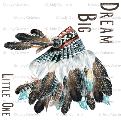 Dream Big Little One 90 Degrees Headdress Blue / White / Red