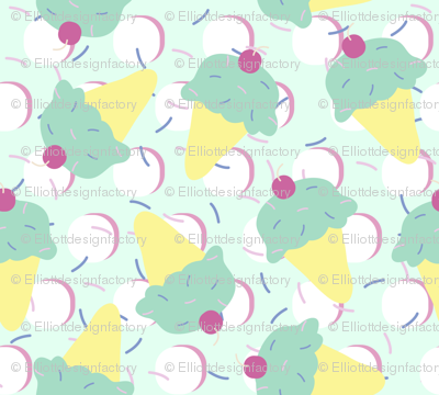 Sprinkle Ice Cream Cone Repeat in Pink + Atomic Mint