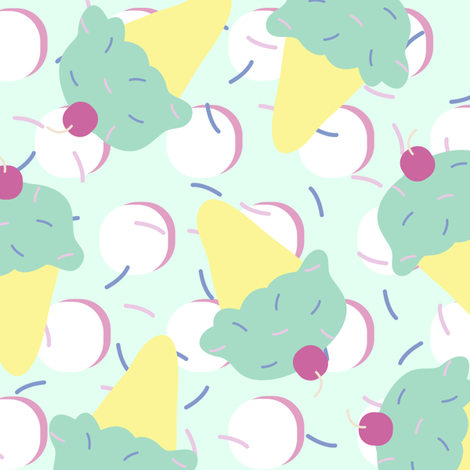 Sprinkle Ice Cream Cone Repeat in Pink + Atomic Mint fabric by elliottdesignfactory on Spoonflower - custom fabric