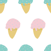 Sprinkle Ice Cream Cone Repeat in Pink + Atomic Mint on White