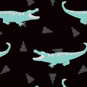Postmodern Minty Crocodiles + Striped Triangles in Black