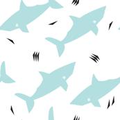 Minty Postmodern Sharks on White
