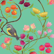 Embroidered Chinoiserie Turquoise