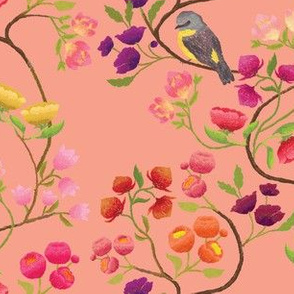 Embroidered Chinoiserie Peach