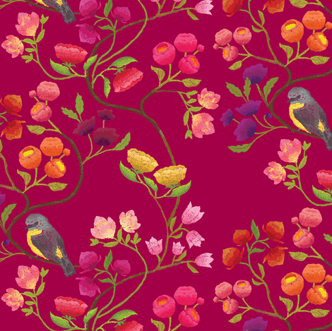 Embroidered Chinoiserie Ruby fabric by ceciliamok on Spoonflower - custom fabric