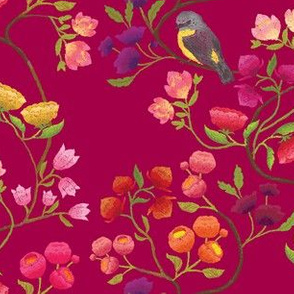 Embroidered Chinoiserie Ruby