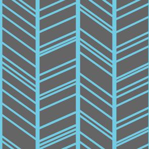 Uneven Herringbone - Cyan